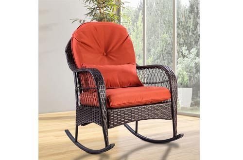 GraceShop Relaxation Patio Rattan Wicker Rocking Chairs Porch Deck Rocker Outdoor Furniture W/Cushion