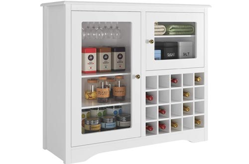 HOMECHO Wine Bar Storage Cabinets Wood Kitchen Buffet Server with 20-Bottle Display Rack Holder and Glass Hook, Liquor Cupboard Sideboard Table, Modern Dining Room Furniture, White