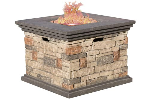 Christopher Knight Home 296587 | Crawford | Outdoor Square Propane Fire Pits with, Stone