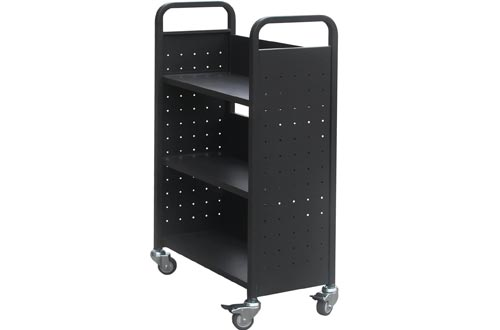 "3 Shelves Book Carts Single Sided Flat Shelf Welded Book Truck, 46"" Height 28"" Width Bookcase, Black …"
