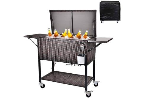 RELAXIXI 80 Quart Rattan Rolling Cooler Carts, Portable Wicker Cooler Trolley, Beverage