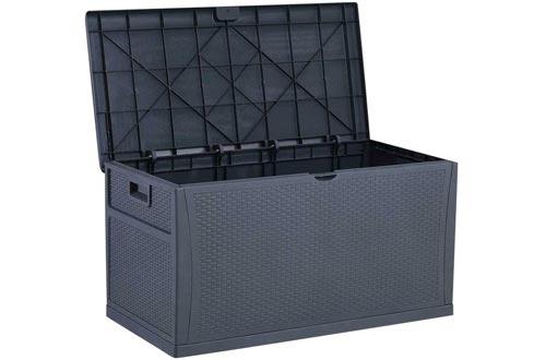 Outdoor Deck Storage Boxs, Patio Resin Storage Bin Outdoor Cushion Storage 120 Gallon (Grey)