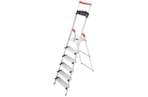 Hailo 8030-627 XXR Comfortline 6FT Folding Lightweight Aluminum Platform Step Ladders, Worktray, Silver