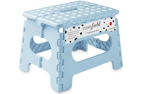 """Casafield 9"""" Folding Step Stools with Handle, Blue - Portable Collapsible Small Plastic Foot Stools for Kids and Adults - Use in The Kitchen, Bathroom and Bedroom"""
