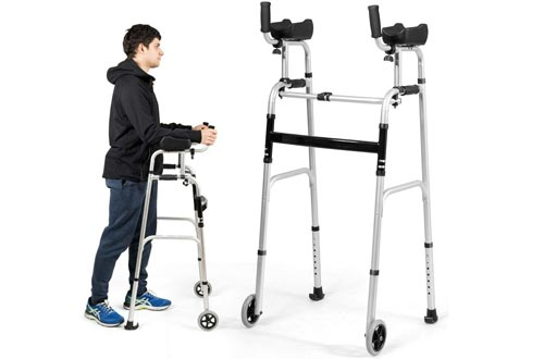 Goplus Foldable Standard Walkers, Lightweight Aluminum Alloy Wheel Rehabilitation Auxiliary Walking Frame with Arm Rest Pad and Wheels, Height Adjustable Elderly Walking Mobility Aid