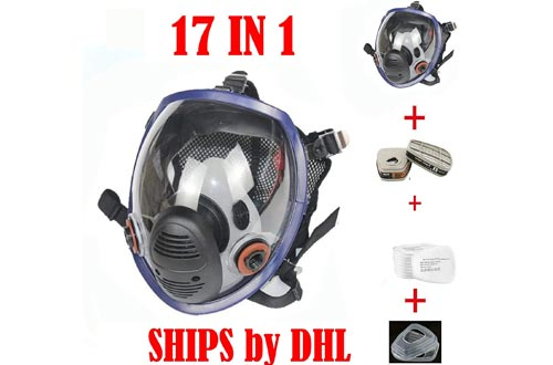 17in 1 Full Face Respirators Widely Used in Organic Gas,Paint Sprayer, Chemical,Woodworking,Dust Protector