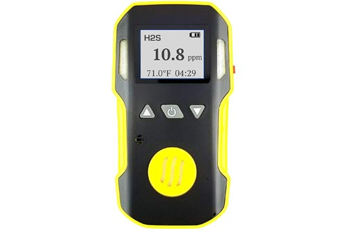 Hydrogen Sulfide H2S Detector Meter by FORENSICS   Professional   Dust & Explosion Proof   Li-ion Battery 1500mAh   Adjustable Sound, Light & Vibration Alarms   0-100ppm H2S  