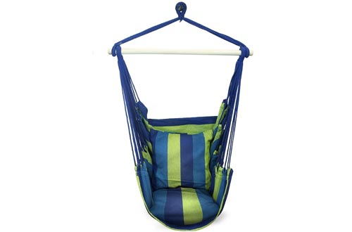 Sorbus Hanging Rope Hammock Chairs Swing Seat for Any Indoor or Outdoor Spaces- Max. 265 Lbs -2 Seat Cushions Included
