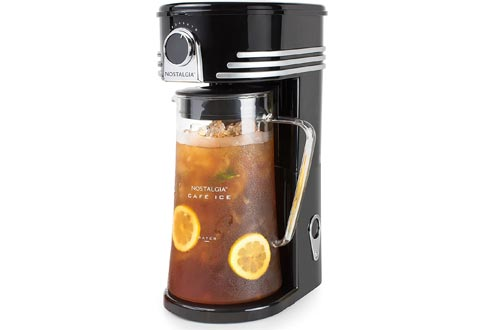 Nostalgia CI3BK Iced Coffee Makers and Tea Brewing System, Glass Pitcher, 3 quart, Black