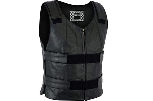 HIGHWAY LEATHER Women Motorcycle Black Bulletproof Replica Leather Vests