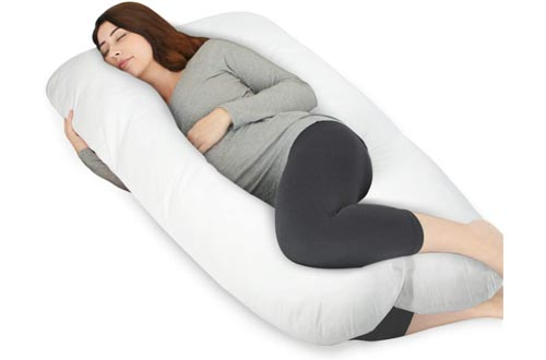 HOMFY Pregnancy Pillows U Shaped, 100% Luxury Cotton Maternity Pillows with Removable Pillows Cover, Supports Full Body and Alleviates Discomfort - White