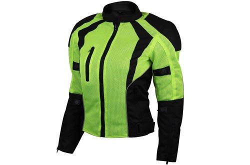 Ladies Hi-Vis Mesh Motorcycle Jackets with CE Armor - M