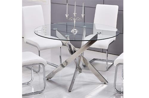 Best Master Furniture Mirage Glass Top Modern Dining Tables Only, Clear