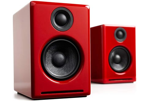 Audioengine A2 Plus 60W Powered Desktop Speakers, Built in 24Bit DAC and Analog Amplifier (Red)