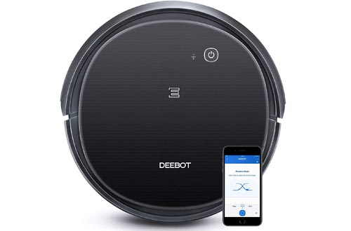 Ecovacs DEEBOT 500 Robot Vacuum Cleaners with Max Power Suction, Up to 110 min Runtime, Hard Floors and Carpets, Pet Hair, App Controls, Self-Charging, Quiet, Large, Black