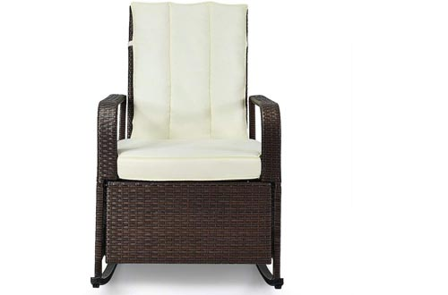King 77777 Patio Wicker Porch Garden Lawn Reclining Rocking Chairs Comfortable Modern Stylish Classic Design Solid