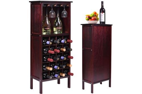 Bottle Holder Storage New Wood Wine Cabinets w/ Glass Rack Kitchen Home Bar