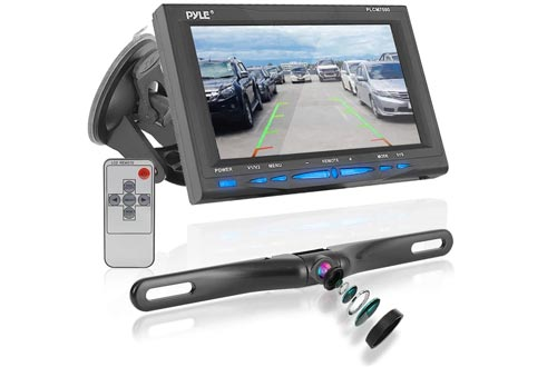 "Rear View Backup Car Cameras - Screen Monitor System w/ Parking and Reverse Assist Safety Distance Scale Lines, Waterproof & Night Vision, 7"" LCD video Color Display for Vehicles - Pyle PLCM7500"