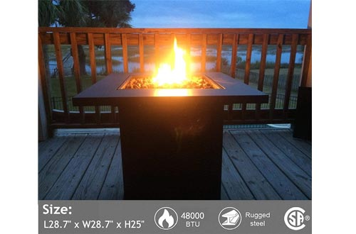 Portable Propane Gas Fire Pits Table - 48,000 BTU Gas Firepits Grill, Outdoor Tabletop Fireplaces w/Strong Bronze Steel Frame, CSA Certification Approval, for Courtyard