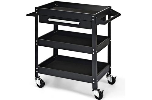 3 Tier Black Industrial & Scientific Office Products Mobile Cabinet Rack Shelves Storage Book Carts Library Raw Material Production Worksite Mechanic Rolling Toolbox Organizer w/Drawer Sturdy & Durable