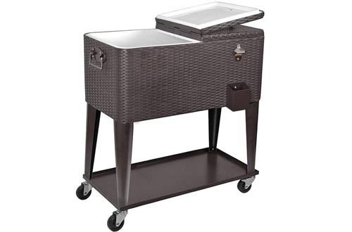 Clevr 80 Quart Qt Rolling Cooler Ice Chest Carts for Outdoor Patio Deck Party, Dark Brown Wicker Faux Rattan Tub Trolley, Portable Backyard Party Drink Beverage Bar