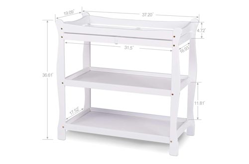 Bable Baby Changing Tables with Two Open Shelves for Storage- Modern Diaper Changing Station with Pad to Protect Mom's Waist, Wooden White Changing Tables Has Sturdy Straps Guardrail, Safe to Dress Baby