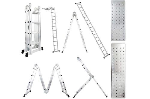 Luisladders 15.5 Feet Aluminum Multi-Purpose Extendable Ladders Folding Step Ladders Locking Hinges