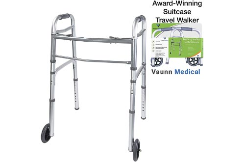 Vaunn Medical Two Button Folding Walkers with Wheels, Adjustable Height and Detachable Legs