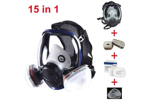 JZWDMD 15in1 Full Face Respirators Gas Mask Widely Used in Organic Gas,Paint Sprayer, Chemical,Woodworking,Dust Protector