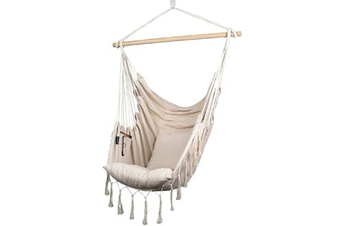 Komorebi Hammock Chairs | Hanging Rope Swing Seat for Indoor & Outdoor | Soft & Durable Cotton Canvas | 2 Cushions Included | Large Reading Chairs with Pocket