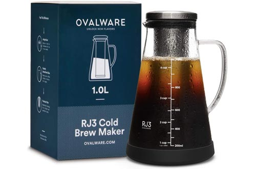 Airtight Cold Brew Iced Coffee Makers and Tea Infuser with Spout - 1.0L / 34oz Ovalware RJ3 Brewing Glass Carafe with Removable Stainless Steel Filter