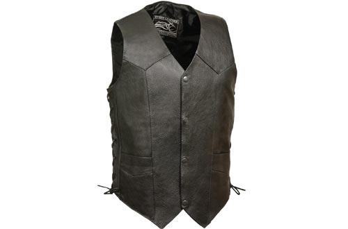 Event Biker Leather Men's Promo Side Lace Leather Vests (Black, Large)