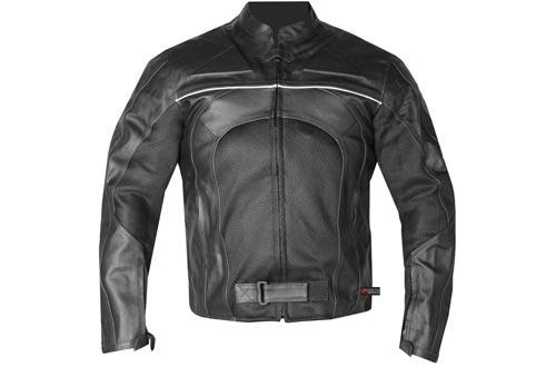 New Men's Razer Motorcycle Biker CE Armor Mesh & Leather Black Riding Jackets L