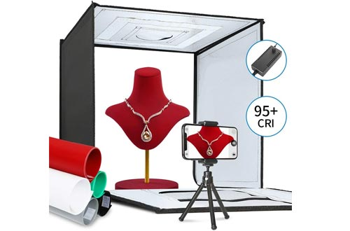 ShowMaven Photo Light Box, Portable Folding Photography Studios Box Booth Shooting Tent Kit with 5 Backdrops & Phone Holder & Tripod Stand for Photography
