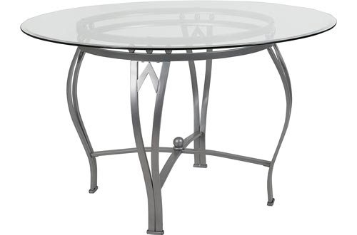 Flash Furniture Syracuse 48'' Round Glass Dining Tables with Silver Metal Frame