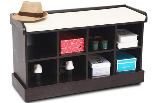 Wood Entryway Hall Shoe Cabinets Benchs with 8 Cubbies Storage Organizer with Fireproof Cushion Brown