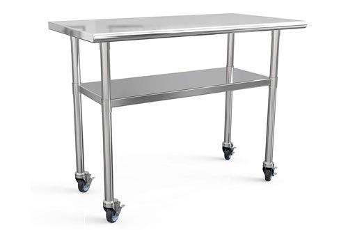Stainless Steel Prep Tables 48x24 Inches NSF Commercial Work Tables Food Metal Tables Heavy Duty Kitchen Garage Tables Worktables and Workstations Sandwich Top with 4 Caster Wheels