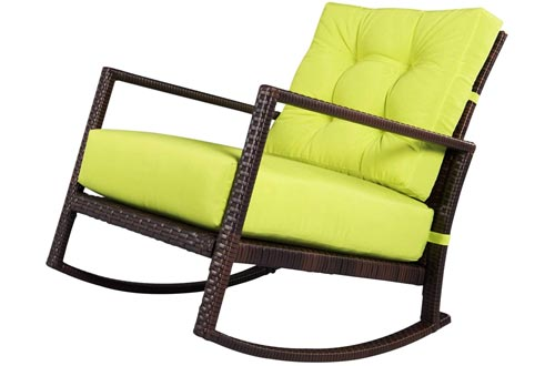 SUNCROWN Outdoor Furniture Patio Rocking Chairs All-Weather Wicker Seat with Thick, Washable Lime Green Cushions, Smooth Gliding Rocker with Improved Stability