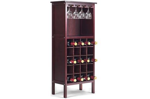 "Giantex 20 Bottle Wine Cabinets Wood Wine Rack Bottle Holder Storage Display Shelf Wine Bottle Organizer w/Glass Hanger, 16.5"" LX 9.5"" WX 38"" H"