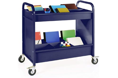 Guidecraft Heavy Duty 4-Wheel Everything Carts Navy: Rolling 2-Shelf Metal Utility and Book Storage, Office Furniture and School Supply