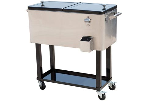 Outsunny 80 QT Rolling Cooler Ice Chest on Wheels Outdoor Stand Up Drink Cooler Carts for Party, Stainless Steel