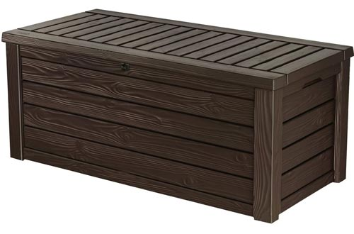 Keter Westwood 150 Gallon Resin Large Deck Boxs-Organization and Storage for Patio Furniture, Outdoor Cushions, Garden Tools and Pool Toys, Brown