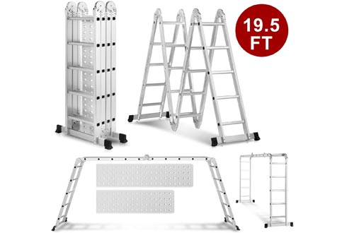 Heavy Duty Gaint Aluminum Multi Purpose Folding Ladders Scaffold Ladders with 2 Platform Plates- 330Lbs (19.5ft Extension Ladder)