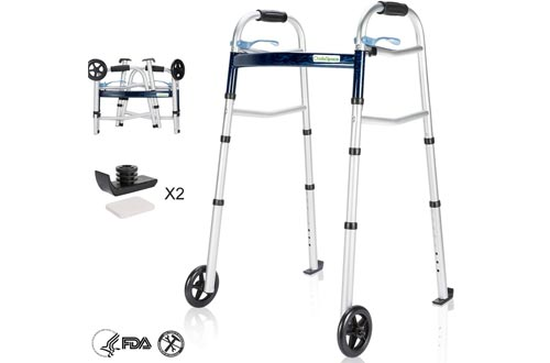 OasisSpace Compact Folding Walkers, with Trigger Release and 5 Inches Wheels for The Seniors [Accessories Included] Narrow Lightweight Supports up to 350 lb