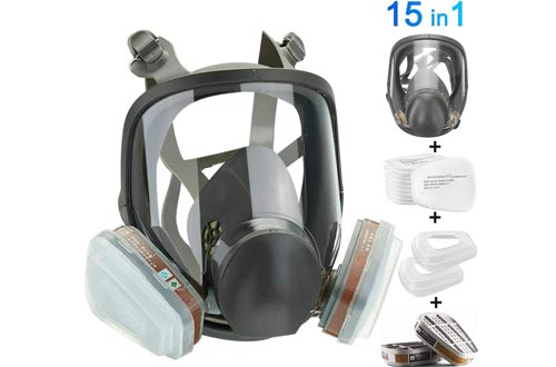 HAOX 15in1 Full Face Large Size Respirators, Full Face Wide Field of View,Widely Used in Organic Gas,Paint spary, Chemical,Woodworking