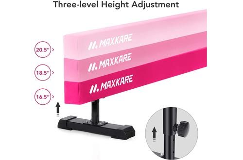 MaxKare Adjustable Balance Beams Gymnastics Training Equipment 8ft Long for Kids & Adults Use (Pink)