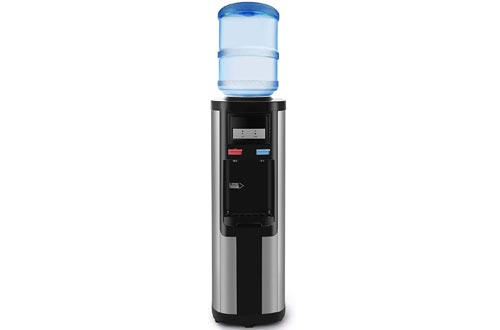 4-EVER Water Cooler Dispensers Top Loading 5 Gallon Stainless Steel Compressor Cooling Hot Cold and Normal Temperature Water W/Child Safety Lock