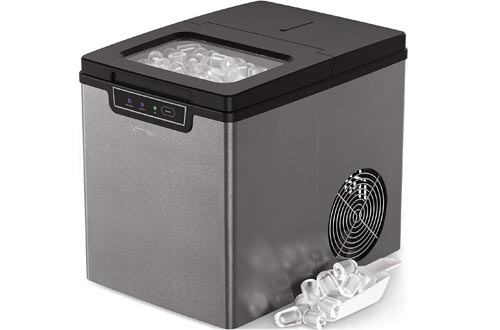 Vremi Countertop Ice Makers - Ice Cubes Ready in 9 Mins - Perfect for Water Bottles, Mixed Drinks - Portable Small Stainless Steel Ice Makers with Ice Scoop and Basket - Silver and Black