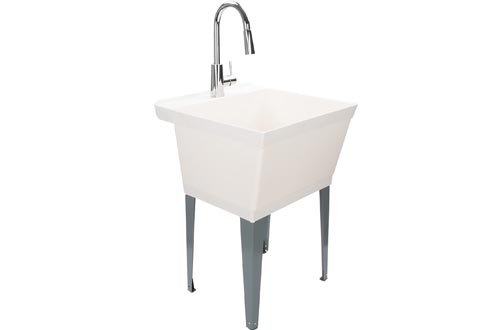 Laundry Sinks Utility Tub With High Arc Chrome Kitchen Faucet By MAYA - Pull Down Sprayer Spout, Heavy Duty Sinks With Installation Kit