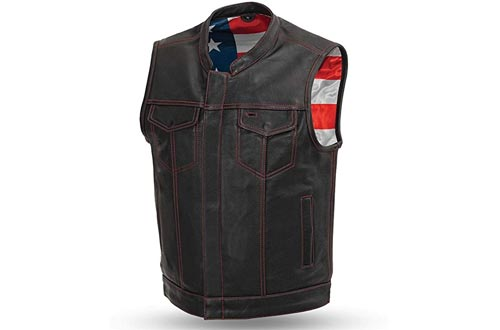First Manufacturing Men's Leather Motorcycle Vests with Gun Pockets Solid Back Hidden Zipper American Flag Liner